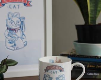 Lucky Cat, English China Mug