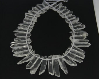 A-grade of strand Polished Raw Clear Quartz Crystal Points Slice Slab Beads,Top Drilled Graduated Smooth Quartz Gemstone Pendants Necklace