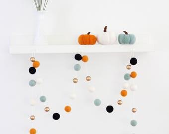 Black Orange & Mint- Fall felt Ball Garland- Thanksgiving decor- Autumn Gold Garland- Autumn Felt Ball Garland- Thanksgiving bunting