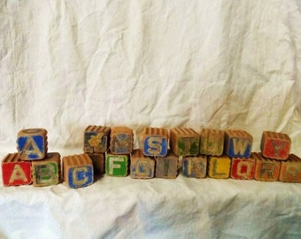20 Antique Wooden Childrens Toy Blocks- Raised Wood Letters & Pictures- Toy Wood Stacking Blocks- Well Used Old Blocks-Great Old Toy Blocks
