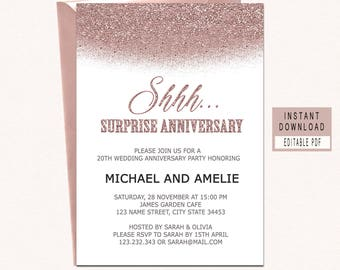Anniversary invite etsy surprise anniversary party invitations surprise anniversary invitations anniversary invitations template rose gold modern stopboris Image collections