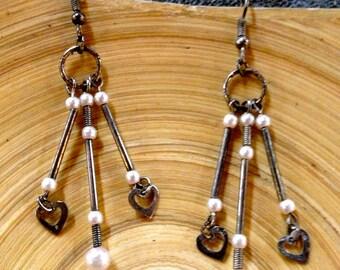 Valentine's day,Vintage Beaded Earrings,Little Hearts,White Pearls,Chandelier, Dangle,