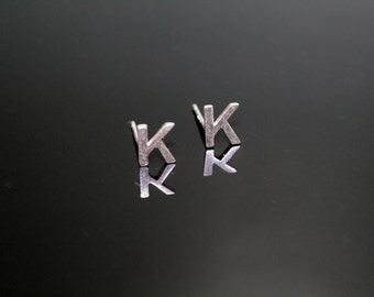 Sterling Silver 925 Initial Stud Earrings Small Letter K Stud Earrings Letter Earrings, Alphabet Earrings