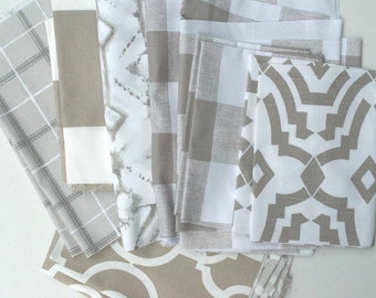 Taupe White Fabric Scraps, Ecru Anderson, Tribal, Backdrop Lyon, Scottish Clay, Cabana, Chevelle, Home Decor Premier Prints REMNANT CUTS
