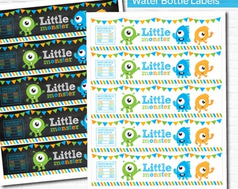 Little Monster Water Bottle Labels, Little Monster 1st Birthday Party, Monster Labels, Instant Download, 2 versions included