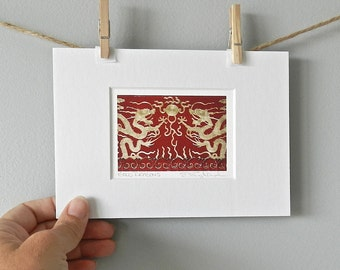 Asian Art Dragon Photo, Architectural Detail Film Photography, Gold Dragon Art Print, Forbidden City Miniature Art, 5x7 Matted Red Gold Art