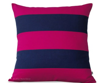 Hot Pink & Navy Striped Pillow Cover (20x20 or 24x24) Rugby Stripe by JillianReneDecor - Modern Home Decor - Designer Pillow
