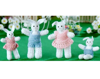 INSTANT DOWNLOAD PDF  Vintage Crochet Pattern  Little Bunnies  Easter Bunny Rabbit Boy Girl Dolls Clothes  Baby Amigurumi