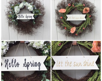Reversible: Spring Lilacs and Summer Poppies, front door wreath