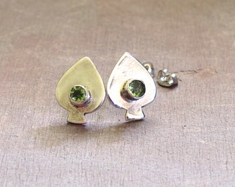 Peridot Earrings ~ Sterling Silver Spade Shaped Posts with Bezel Set Genuine Peridots ~ August Birthstone Stud Earrings