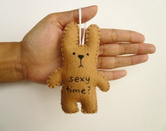 Funny Valentine Ornament funny bunny - Sexy time - tree decoration Christmas, office, nursury or gag gift