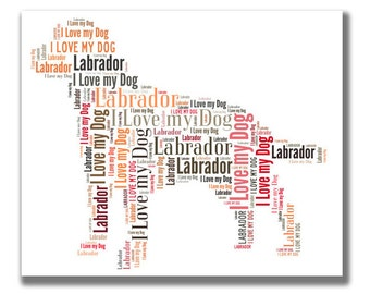 Labrador, Lab - Personalised dog word art.