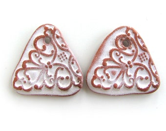 Triangular Beads - ceramic beads, earrings beads, crafted jewelry, flat beads, pottery, unique jewelry rustic ceramic beads bohemian artisan