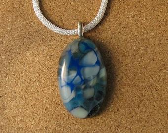 Fused Glass Pendant - Pebble Pendant - Fused Glass Jewelry - Glass Pendant - Fused Glass Necklace - Blue Fused Glass Pendant