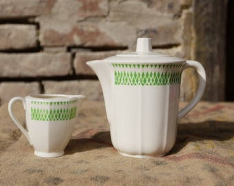 Teapot and pitcher - Badonviller - semi porcelain