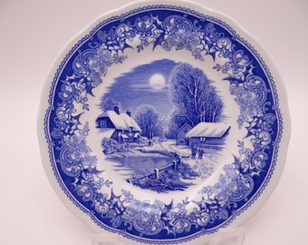 Vintage Spode Winter's Eve Blue and White Bread and Butter Plate - 2 Available