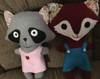 Fox and Raccoon  Bunny stuffed toy
