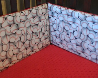 Baseball Crib Bumper - White Packed Baseballs , Gloves and Bats