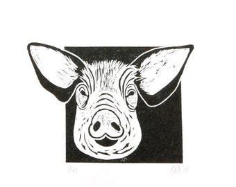 Linocut animals, hog, varken, hand printed wall art, matted, ready to frame, farm animal