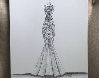 Bridal Illustration-Justin Alexander beaded Gown Illustration
