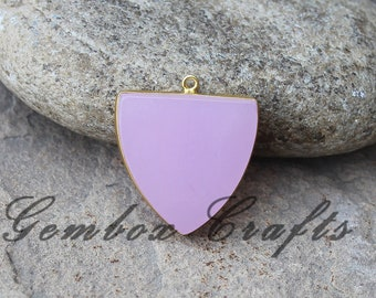 Rose Hydro Quartz 28mm Shield Flat Smooth 925 Sterling Silver Gold Plated Bezel Pendant