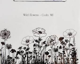 Indigoblu Wild Flowers and Poppies A6 Red Rubber Stamp