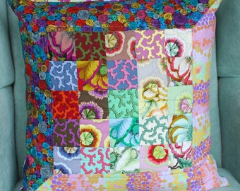 """20"""" Quilted Pillow  Dawn Featuring Kaffe Fassett Fabrics"""