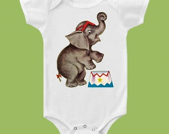 Vintage Circus Elephant, Baby Toddler Girls, Boys, Retro CIRCUS, Elephant TShirt, One Piece Baby, Tank or Tee by ChiTownBoutique.etsy
