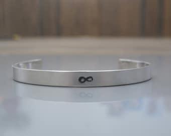 Mens cuff, Sterling silver cuff bracelet , Infinity bracelet, Mens jewelry