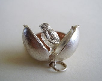 Sterling Silver Chick In Easter Egg Charm