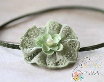 Sage Green Headband Lace Flower Skinny