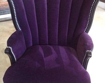 SOLD  CAN REPLICATE Vintage Channel Chair Wing Back Chair With Purple  Velvet And Charcoal Velvet