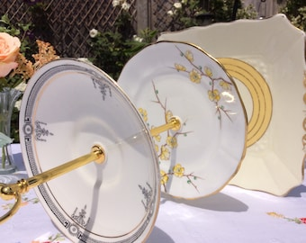 3 tier vintage cake stand, macaroon stand, afternoon tea plate, yellow and Chinese blossom design,