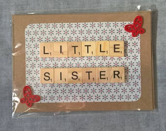 Little sister blank birthday card butterflies butterfly