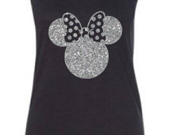 Disney Shirts/ Glitter Minnie Shirt/ Disneyland Shirt/ DIsney World Shirt/ Disney Minnie Tank/ Plus Size Disney Shirts/ Disney Girls Trip