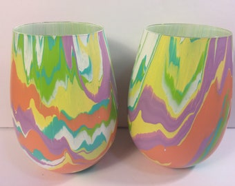 Two 16.9oz Original Hand-Painted Wine Glasses