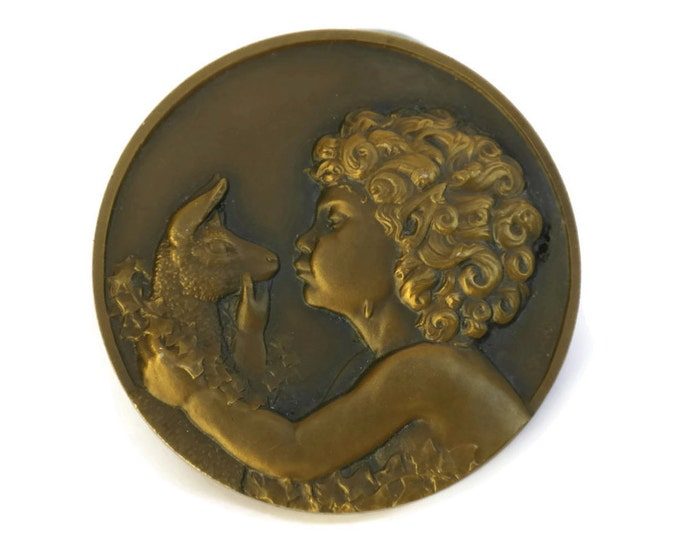 Art Deco Bronze French Medal. Faun and Goat Kid Medallion. Mythological Pan Antique Bronze Relief Medal. Art Deco Jewelry. Rene Thenot.