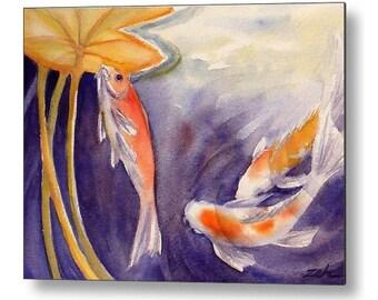 Koi Art Fish Print on Wood Watercolor by Janet Zeh