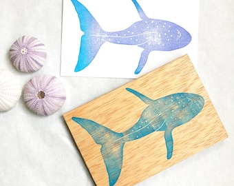 Large whale stamp, Sea animal rubber stamp, nautical theme party, Ocean Beach Wedding, marine animal hand carved rubber stamp, whale art