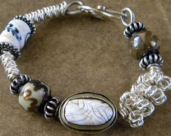 Sale  Tibetan Bead, Lampwork Bead, Silver Colored Spiral Wire, Bangle Bracelet, Moon, Feather  OOAK