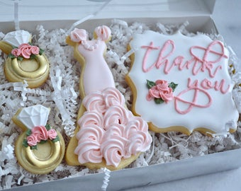Thank you Bridal Party Gift Set - Custom Sugar Cookies - Bridal Party Cookies