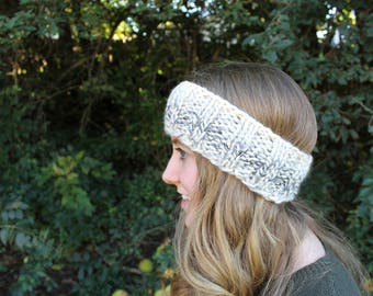 Knitted Headband, Chunky Blue and Cream Ear Warmer, Winter Accessories