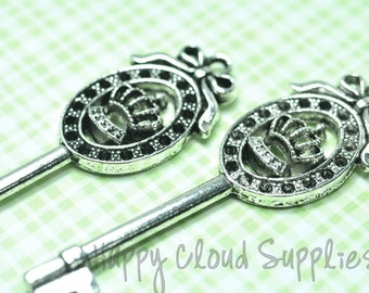 Princess Antique Silver Key Charms... 6pcs