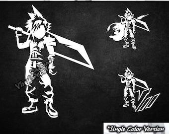 Cloud Strife Vinyl Decal (Final Fantasy 7 / VII Video Game Series) *Single Color Version*