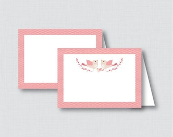 Printable Bird Food Tent Labels Cards or Place Cards - Instant Download - Pink Birdie Baby Shower Food Tent Cards - 0037-P