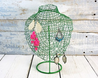 Wire Metal Bust Metal Necklace Display Painted Green Earring Tree Jewelry Holder Jewelry Display Necklace Jewelry Stand