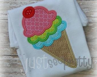 Triple Scoop Ice Cream Embroidery Applique Design