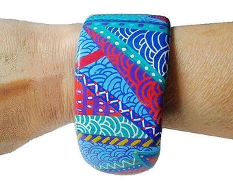 Super Stylesbracelet cuff multicolored graphic abstract pattern hand painted