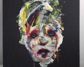 Original gouache & acrylic portrait painting dark expressionist art