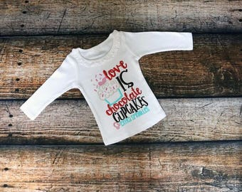 Love is choclate cupcakes and extra speinkles ruffle shirt